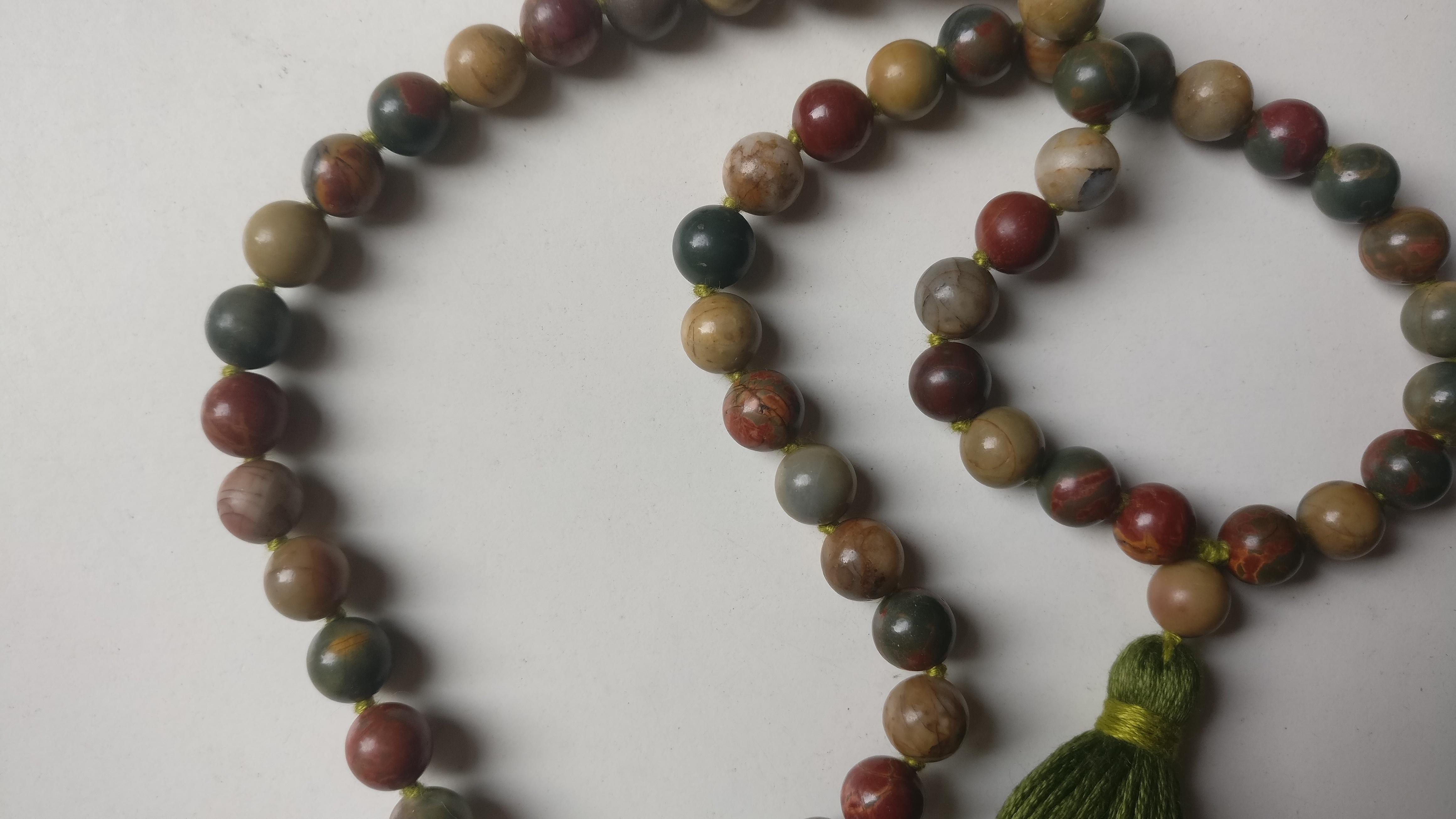 8mm 54 bead Shining Picasso Jasper/Picasso Marble Mala ...